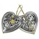 Gerochristo 1250 - Solid Gold & Sterling Silver Filigree Heart Earrings