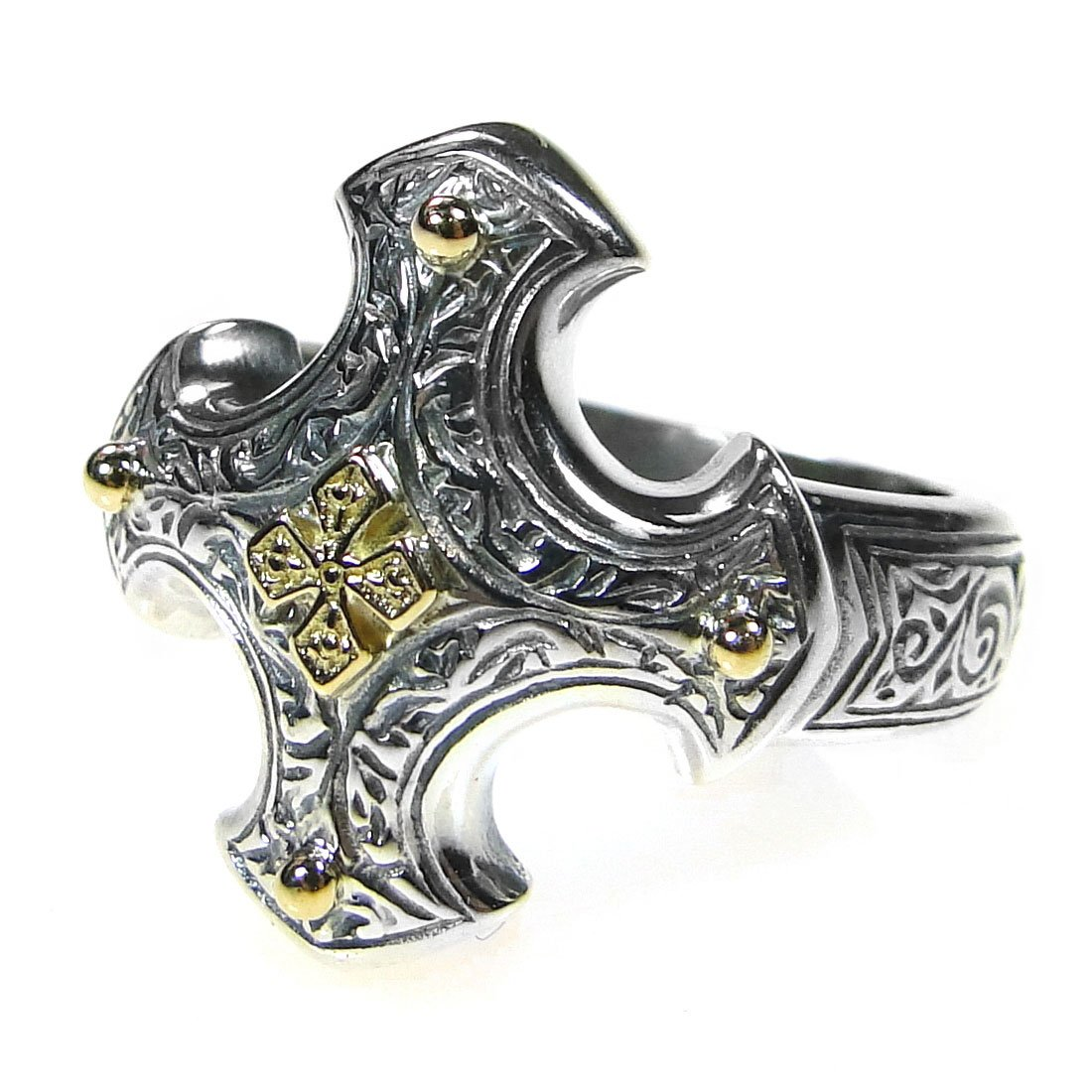 Gerochristo 2713 - Solid Gold & Silver - Medieval-Byzantine Cross Ring / size 7