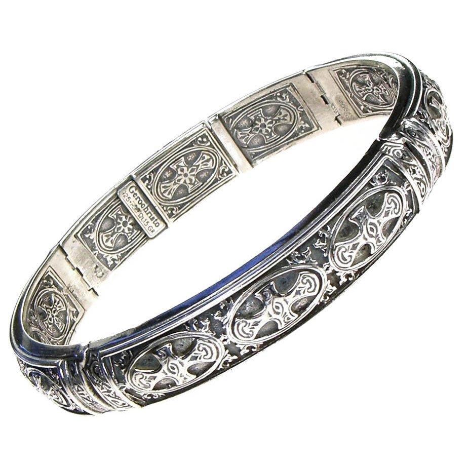 Gerochristo 6288 - Sterling Silver Medieval Cross Cuff Bracelet