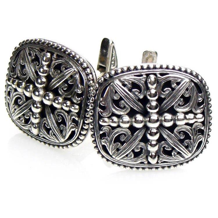 Gerochristo 7092 - Solid Sterling Silver Medieval-Byzantine Cross Cufflinks