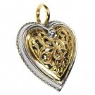 Gerochristo 1249 - Solid Gold & Sterling Silver Heart Pendant