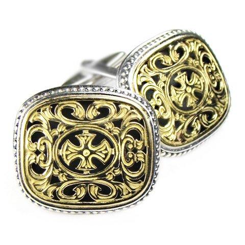 Gerochristo 7073 - Solid Gold & Silver Medieval-Byzantine Cross Cufflinks