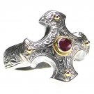 Gerochristo 2714 - Gold, Silver & Ruby - Medieval-Byzantine Cross Ring / size 7