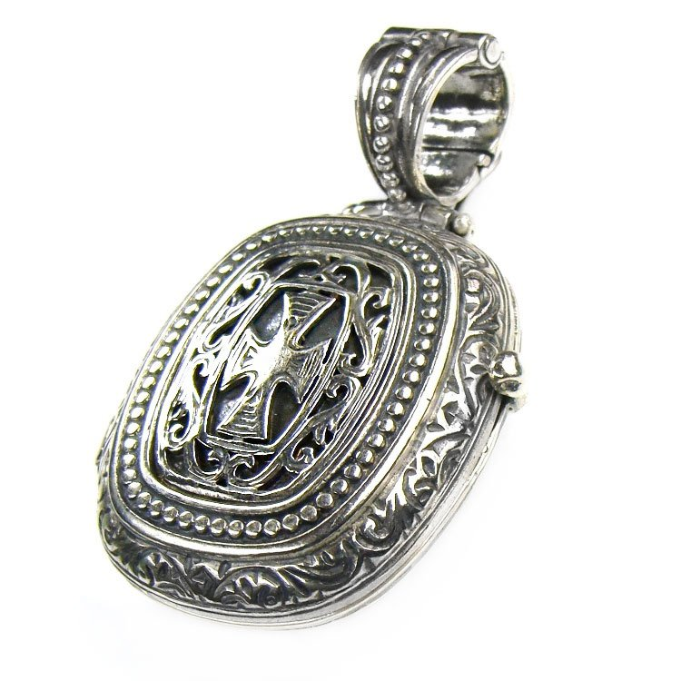 Gerochristo 3357- Medieval-Byzantine Sterling Silver Locket Pendant with Cross