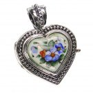 Gerochristo 3437 - Silver & Painted Porcelain Heart Locket Pendant - S