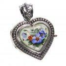 Gerochristo 3437 - Silver & Painted Porcelain Heart Locket Pendant - S