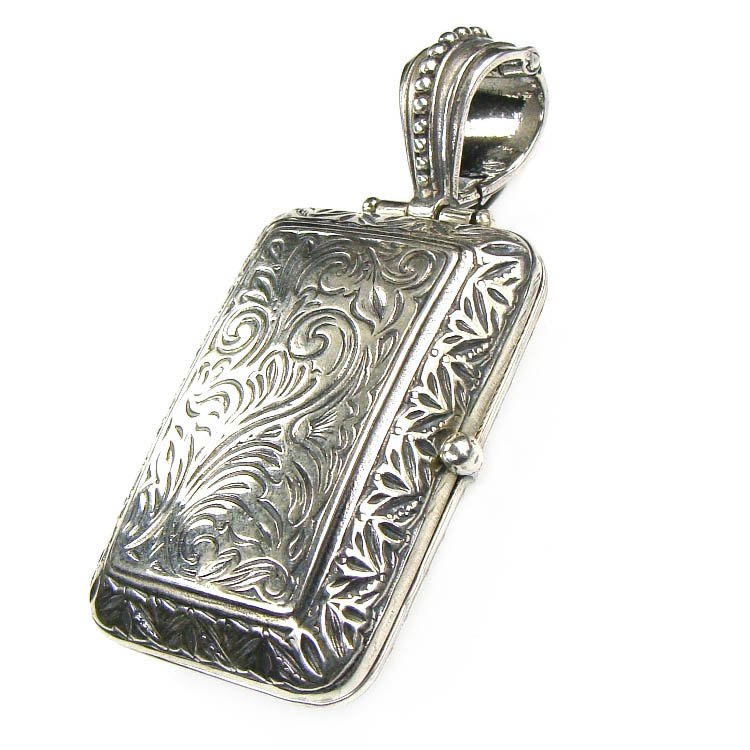 Gerochristo 3358 - Sterling Silver Engraved Rectangular Locket Pendant