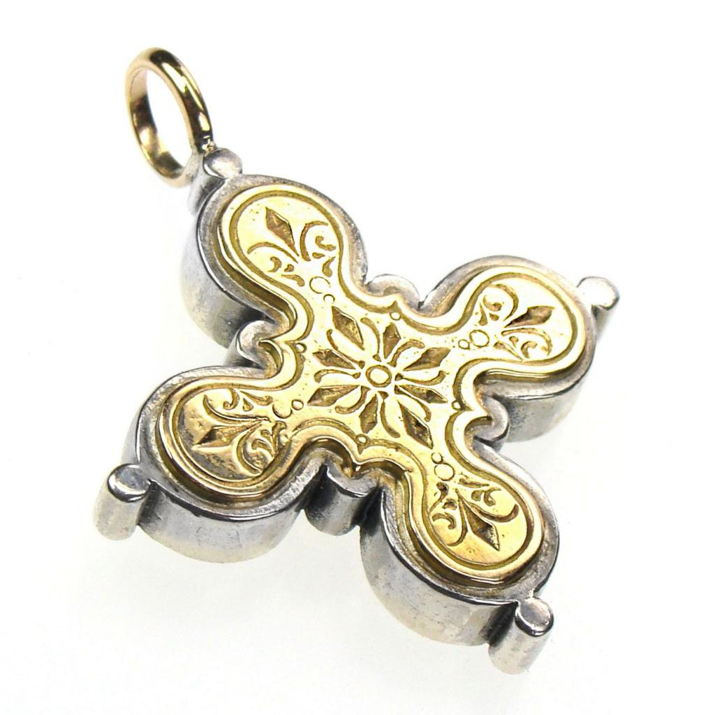 Gerochristo 5223 - Solid Gold & Silver Byzantine Medieval Cross Pendant