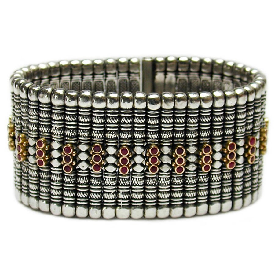Gerochristo 6017 - Solid 18K Gold, Sterling Silver & Rubies Medieval Bracelet