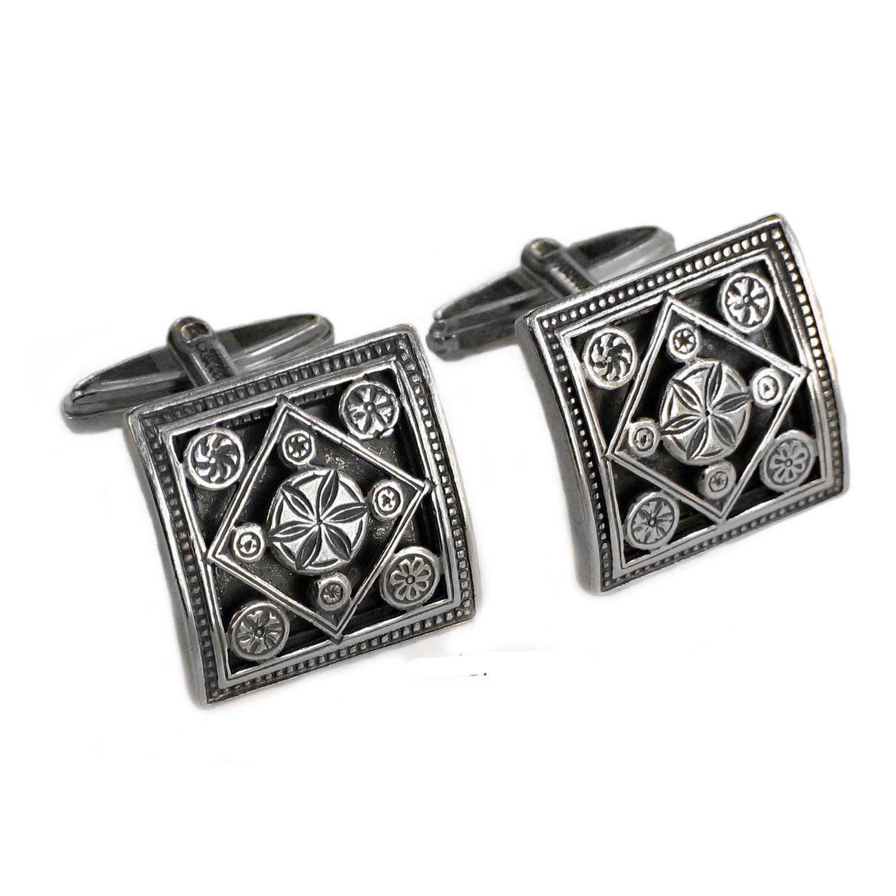 Gerochristo 7021 -Sterling Silver Medieval Byzantine Cufflinks
