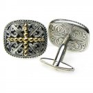 Gerochristo 7081 - Solid 18K Gold & Sterling Silver Medieval Cross Cufflinks