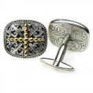 Gerochristo 7081 - Solid 18K Gold & Sterling Silver Medieval Cross Cufflinks