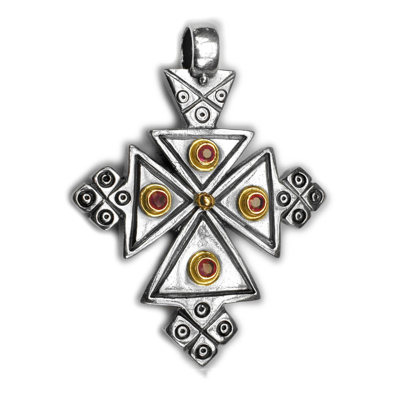 Gerochristo 5051 - Solid 18K Gold, Sterling Silver & Ruby Coptic Cross Pendant