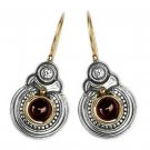 Gerochristo 1055 Solid Gold Silver Garnet Medieval Byzantine Earrings