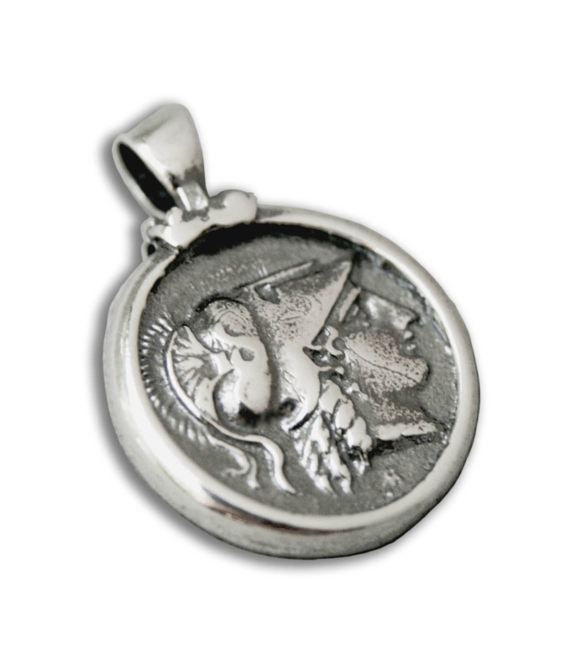 Goddess Athena Nike Stater Greek Coin Sterling Silver Pendant
