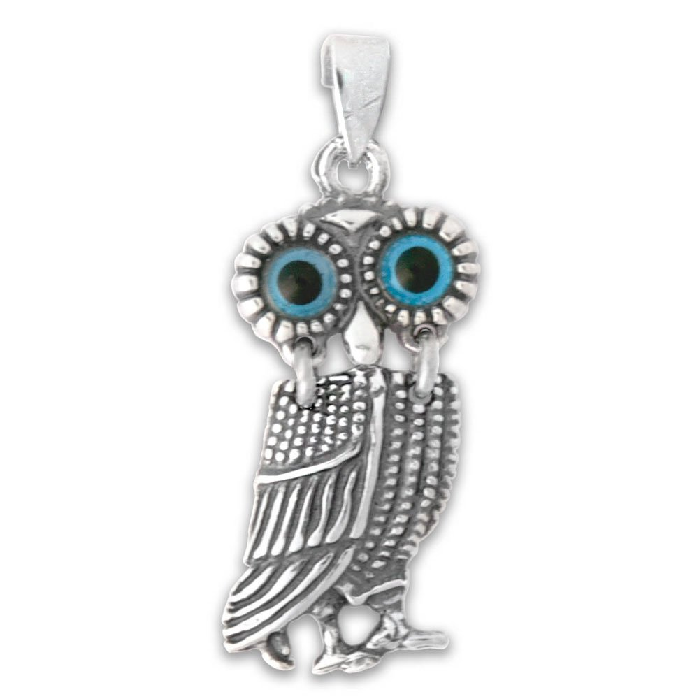 Goddess Athena Wise Little Owl Sterling Silver Pendant A