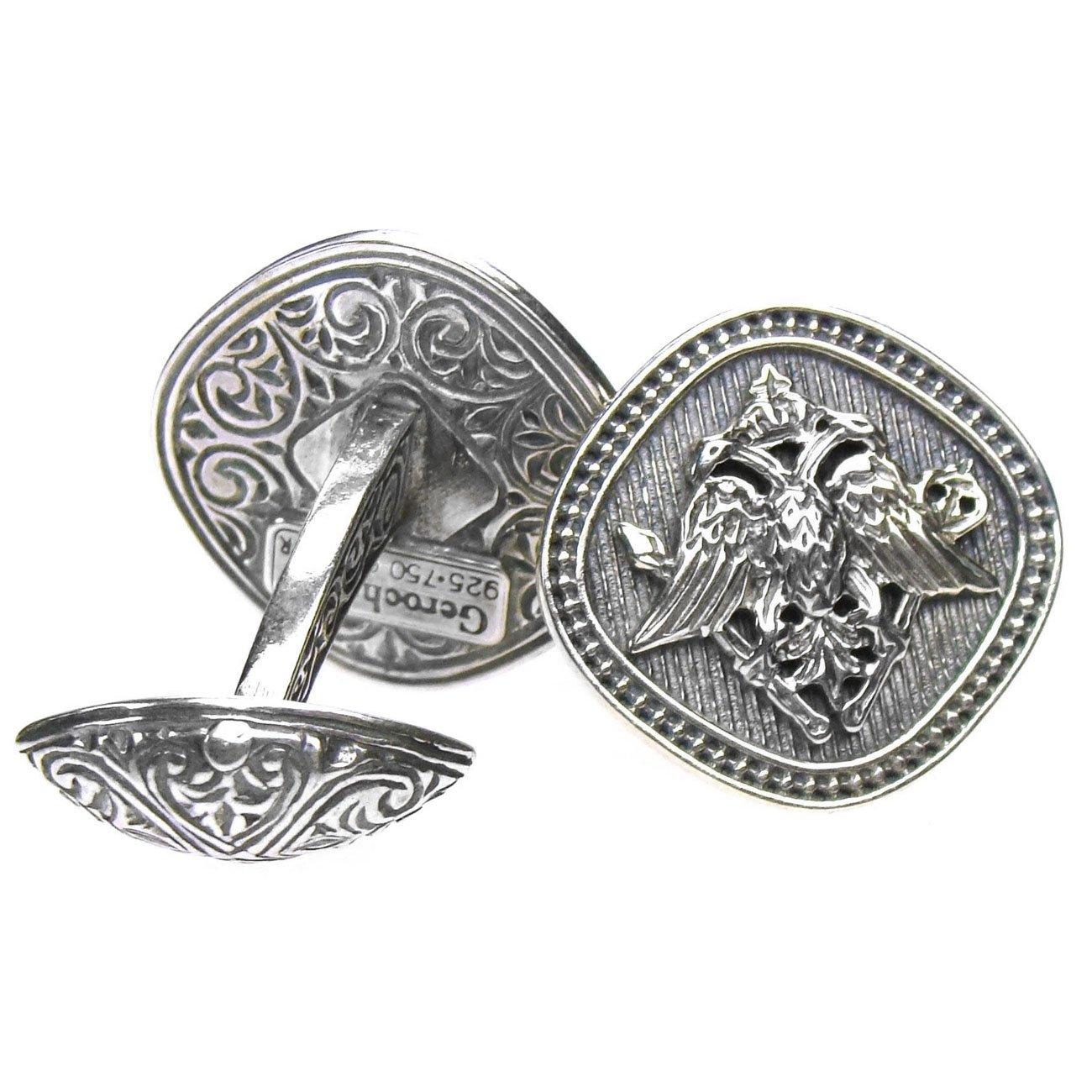 Gerochristo 7105 Double Headed Eagle Byzantine Sterling Silver Cufflinks
