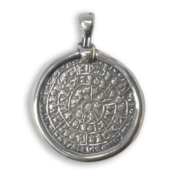 Minoan Phaistos Disk ~ Sterling Silver Pendant- M