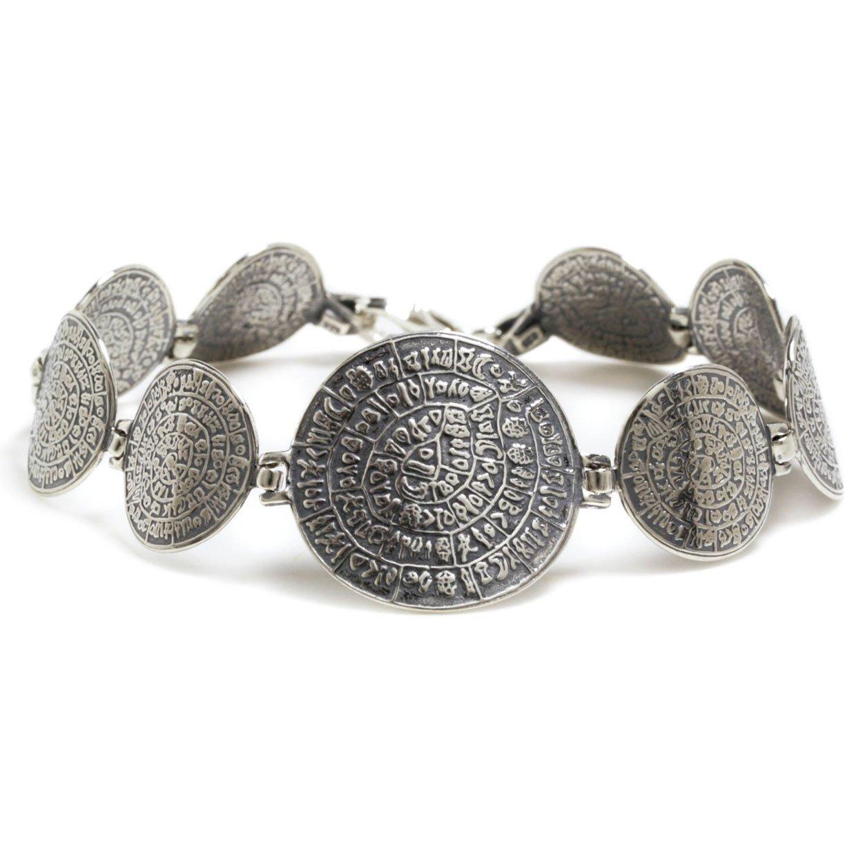 Minoan Phaistos Disk - Sterling Silver Link Bracelet