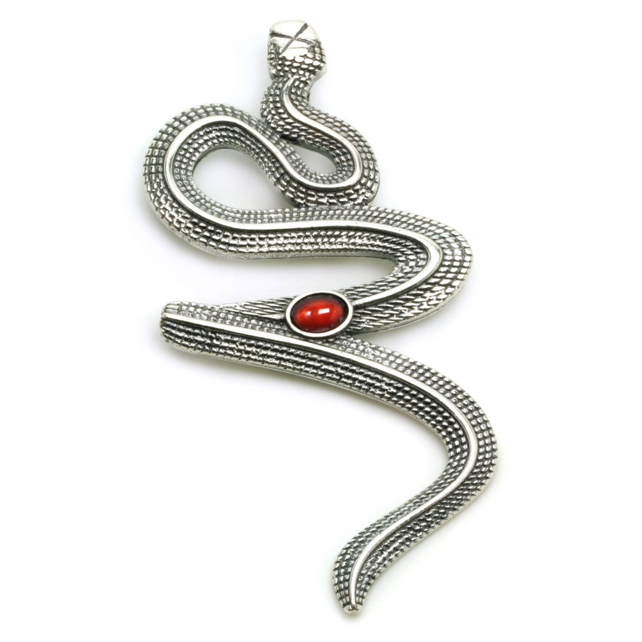 Snake-Serpent - Sterling Silver and Carnelian Large Pendant