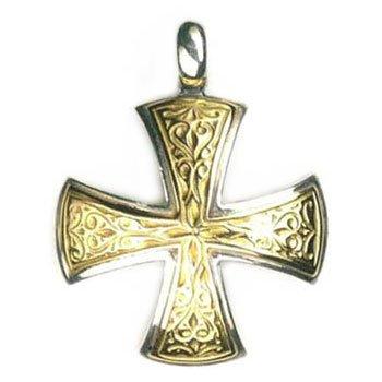 Gerochristo 5337 - Solid 18K Gold & Silver Medieval Maltese Cross Pendant
