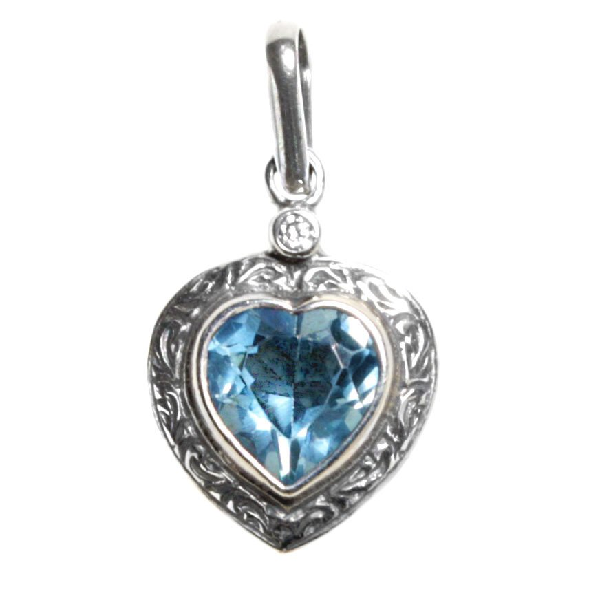 Gerochristo 1440 - Sterling Silver & Blue Faceted Zircon Heart Pendant