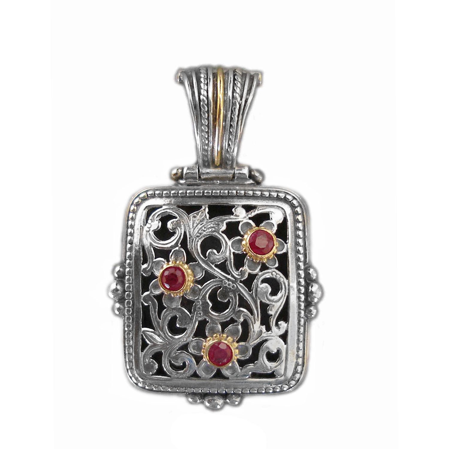 Gerochristo 3263 - Gold, Silver & Rubies Medieval Byzantine Filigree Pendant