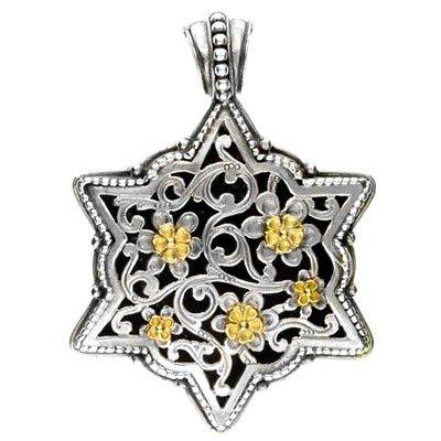 Gerochristo 3259 - Solid Gold & Silver Medieval Byzantine Filigree Pendant