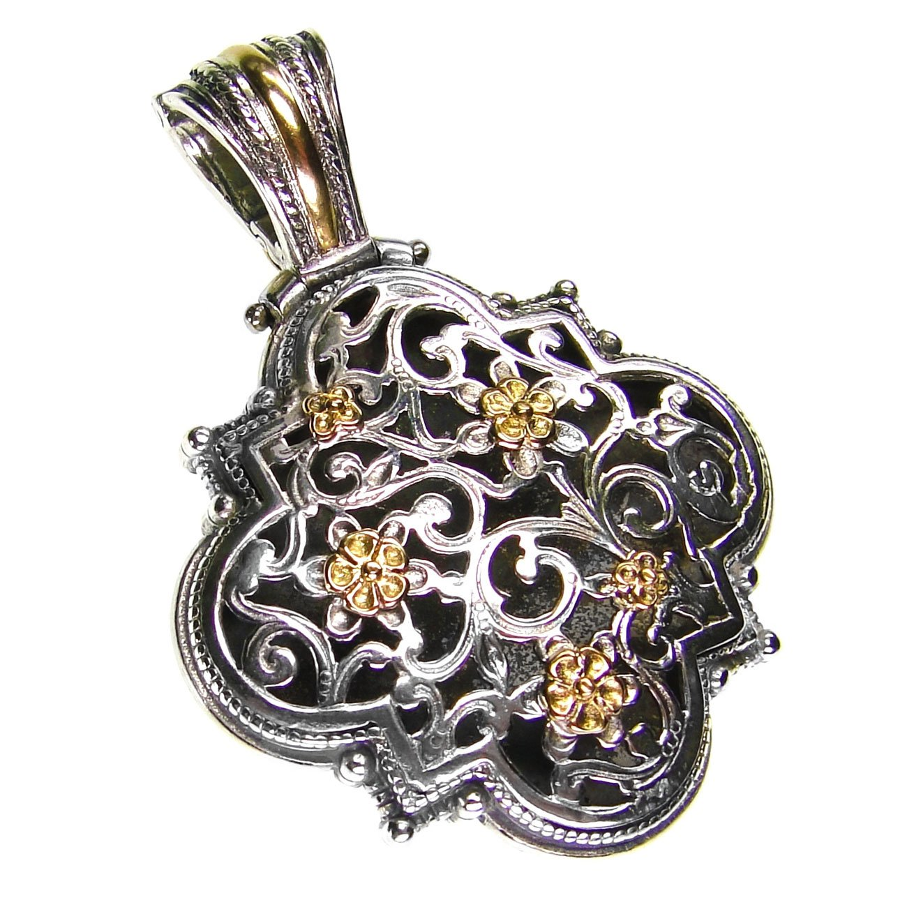 Gerochristo 3255 - Solid Gold & Silver Medieval Byzantine Filigree Pendant