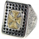 Gerochristo 2638 - Solid Gold & Sterling Silver Medieval Cross Ring / size 7