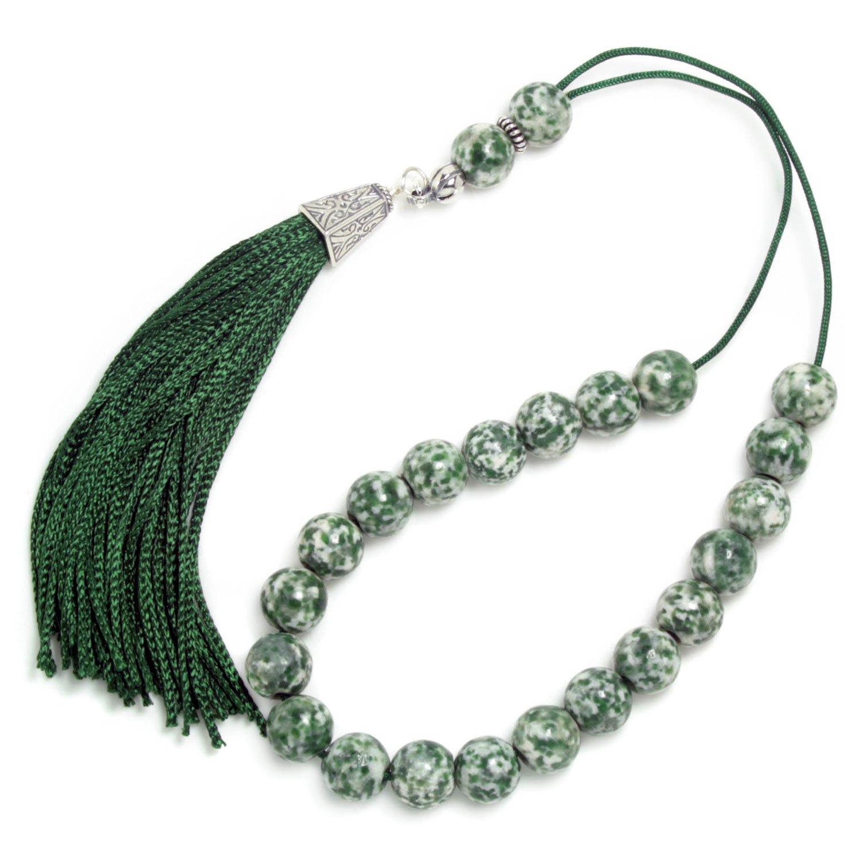 Worry Beads Komboloi - Dendritic Agate-Tree Agate Gemstone - Round Shape