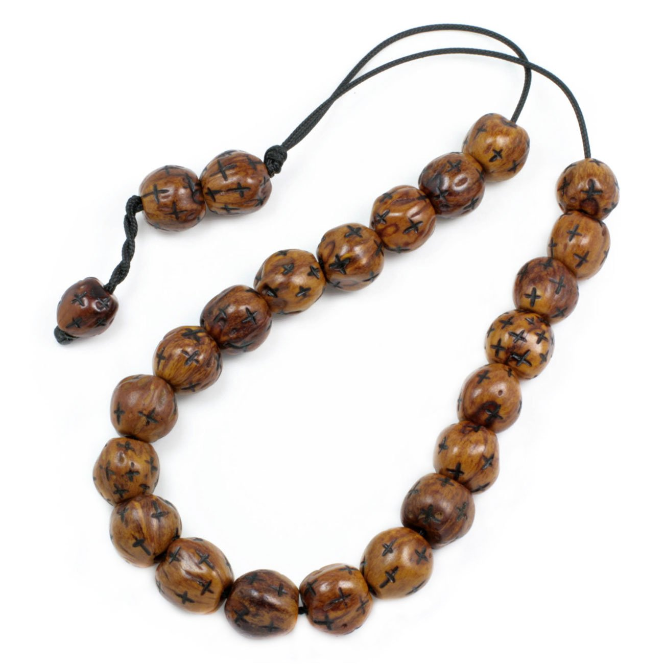 Worry Beads - Komboloi - Scented Nutmeg Seeds with Engraved Crosses - Brown