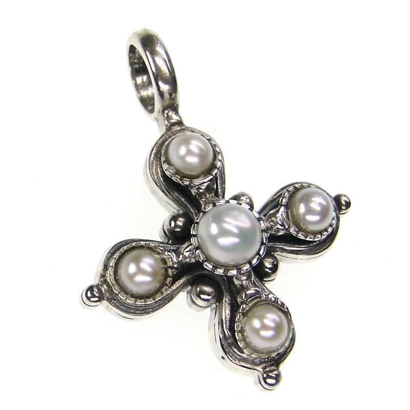 Gerochristo 5411 - Sterling Silver & Pearls Byzantine Medieval Cross Pendant
