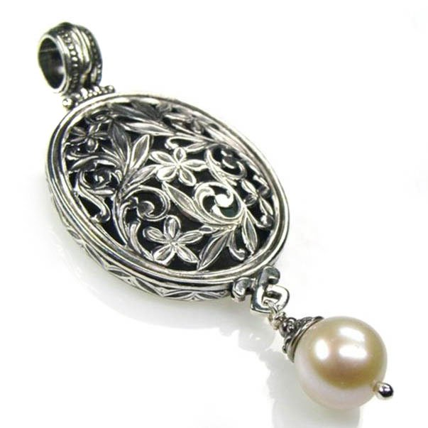 Gerochristo 3344 -Filigree Medieval-Byzantine Pendant- Sterling Silver & Pearl