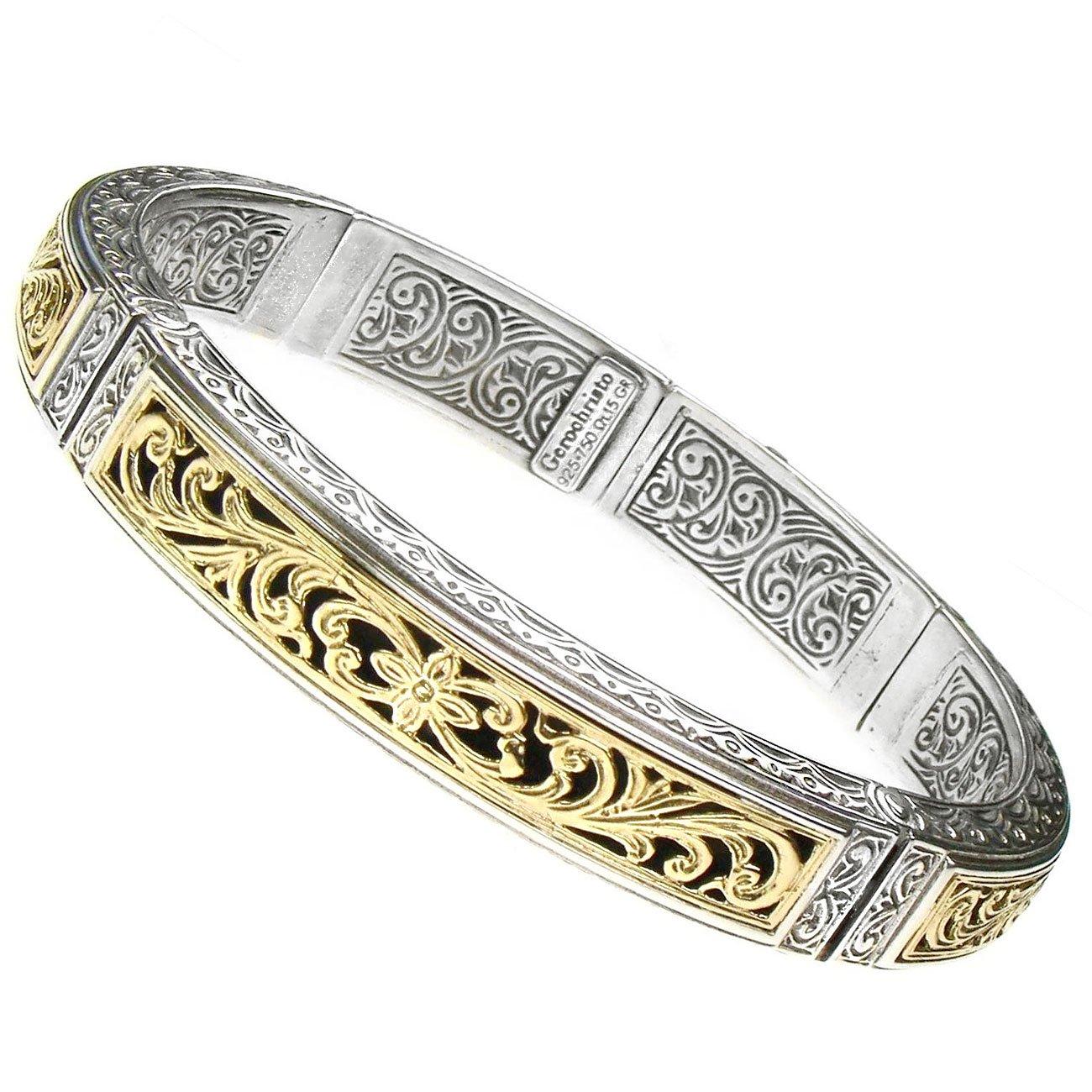 Gerochristo 6289 - Solid Gold & Silver Medieval Byzantine Cuff Bracelet