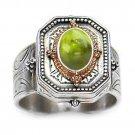 Gerochristo 2119 - Gold, Silver & Peridot Medieval Byzantine Ring / 7