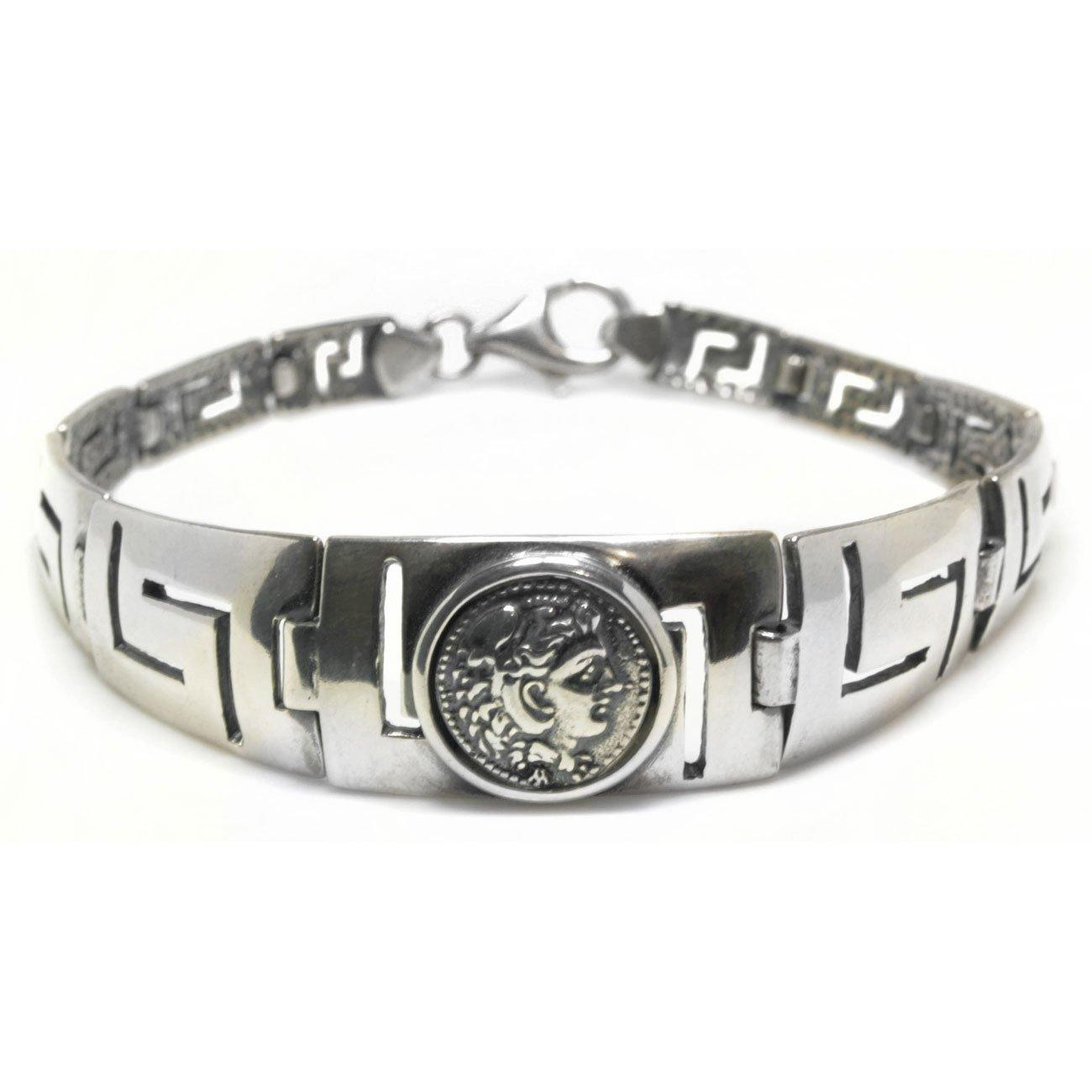 Hercules - Ancient Greek Erythrai Drachma Coin & Meander-Sterling Silver Bracelet
