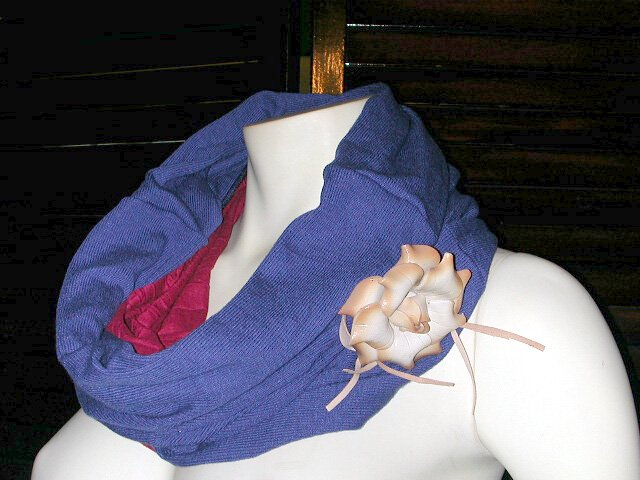 Purple Blue Cowl Neck Head Hoodie Warmer