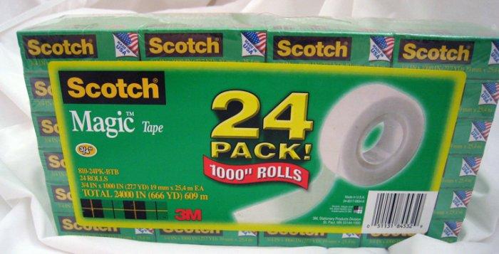 "3M Scotch Magic Tape Wholesale 24pack of 1000"" rolls"