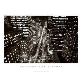Park Avenue at Night, New York City Places Art Poster Print by Henri S