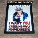 NEW framed WVU Mountaineers Uncle Sam poster