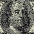 Amazing Ben Franklin on the $100 bill MONEY Montage ART limited signed coa 1-25
