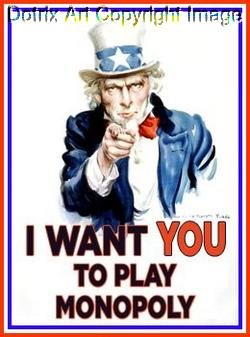 Uncle Sam I WANT YOU play Monopoly canvas mini poster
