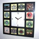 History of Starbucks Coffee Clock with 12 pictures