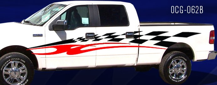 Truck Graphics. Checkers with Swoosh. 2 Colors