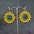 Black/Yellow Round Handmade Crochet Hoop Gypsy Boho Hippie Earrings