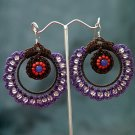 Purple/Brown Handmade Crochet Beaded Hoop Gypsy Boho Hippie Earrings