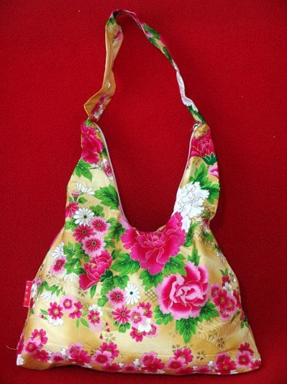 Gold BOHO KIMONO FLORAL STRAP SHOULDER HANDBAG PURSE