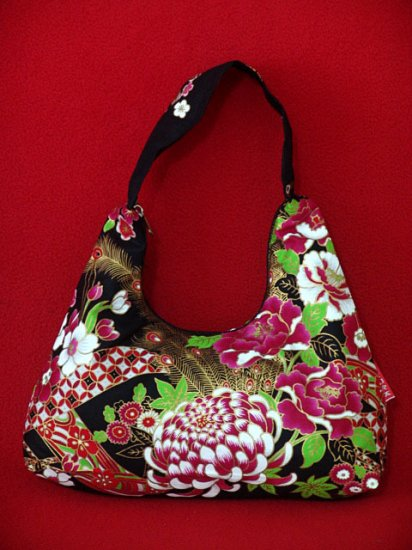 Small Black BOHO Japanese FLORAL Peacock Print SHOULDER HANDBAG PURSE