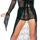 2 Piece Spider Web Lace Tie Front Long Gown with Shorts